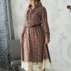 Длинное шифоновое платье с кружевом