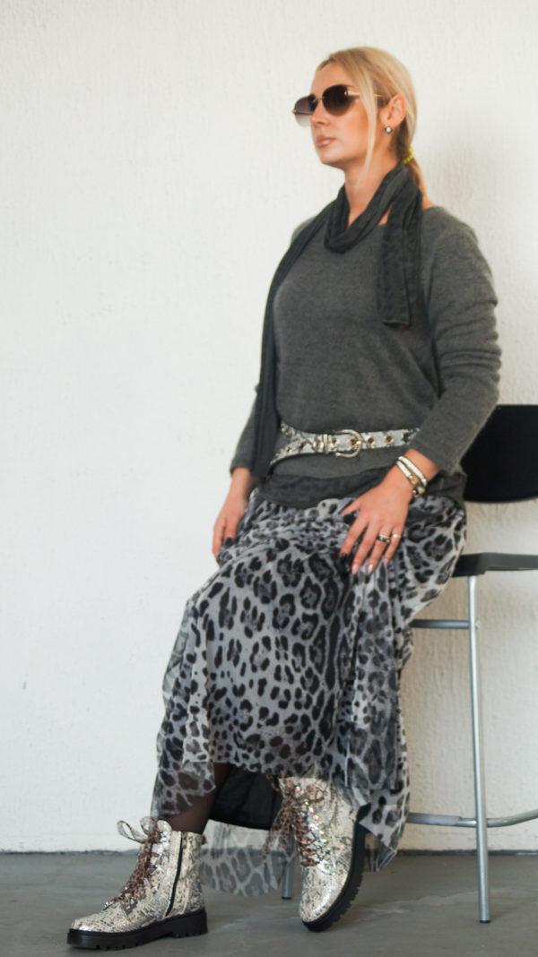 Длинная юбка с леопардовым принтом