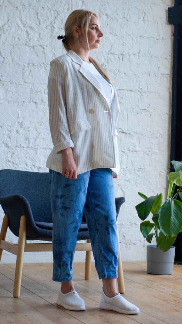 льняной белый пиджак в полоску