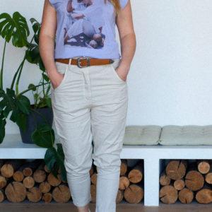 Бежевые летние брюки