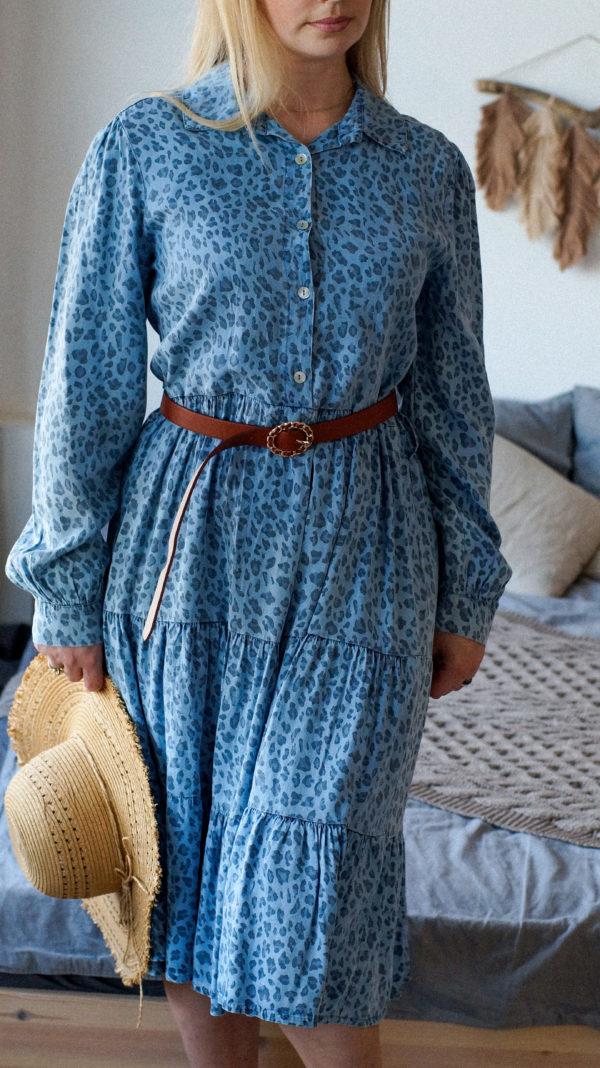 Простое платье джинсового цвета