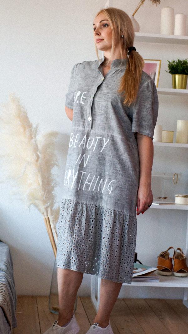 Платье-рубашка с ажурным подолом