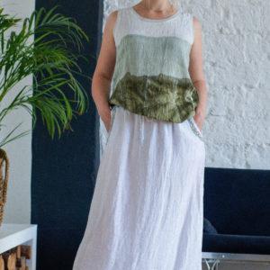 белая длинная льняная юбка