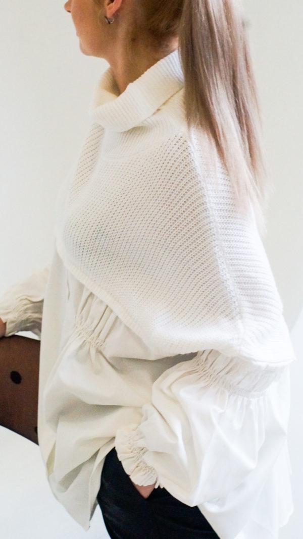 Рубашка Туника  с трикотажной вставкой