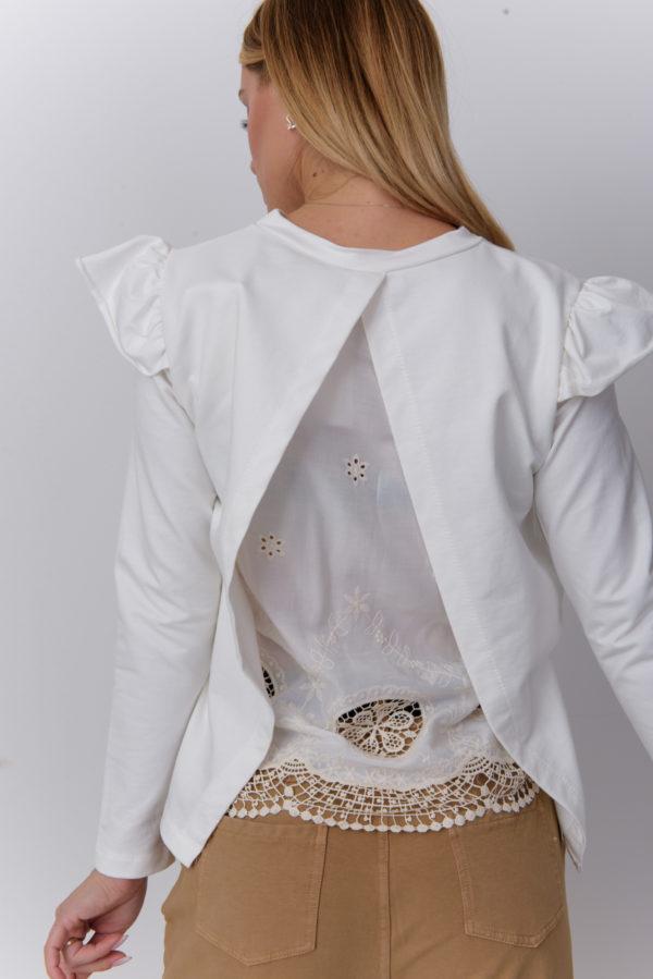 Белая кофта с кружевом на спине