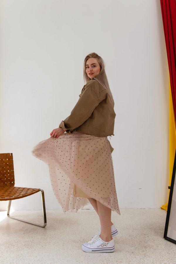 Плиссированная двухслойная юбка миди со стразами