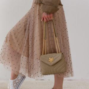 Итальянская кожаная сумка на цепочке