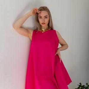 Летнее короткое платье клеш из хлопка