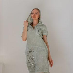 Платье изо льна в стиле спорт-шик с капюшоном